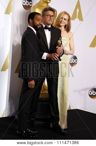 Chiwetel Ejiofor, Pawel Pawlikowski and Nicole Kidman at the 87th Annual Academy Awards Press Room held at the Loews Hollywood Hotel in Hollywood on February 22, 2015.
