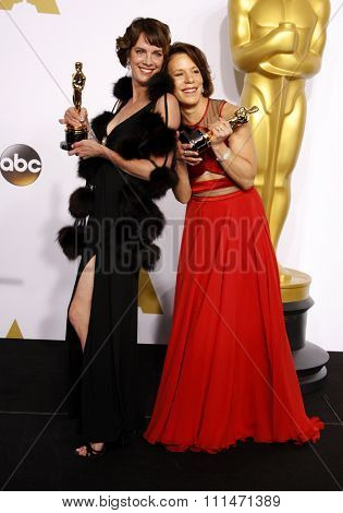Ellen Goosenberg Kent and Dana Perry at the 87th Annual Academy Awards Press Room held at the Loews Hollywood Hotel in Hollywood on February 22, 2015.