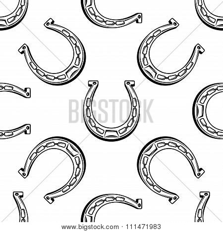 Old horseshoes seamless pattern background