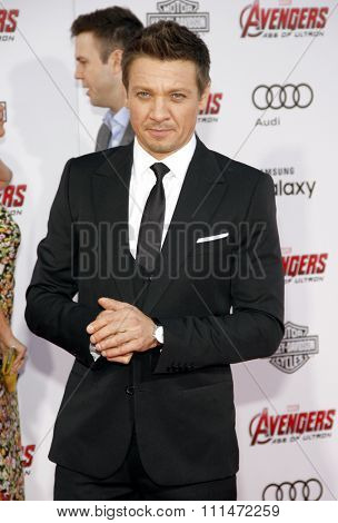 Jeremy Renner at the World premiere of Marvel's 'Avengers: Age Of Ultron' held at the Dolby Theatre in Hollywood, USA on April 13, 2015.