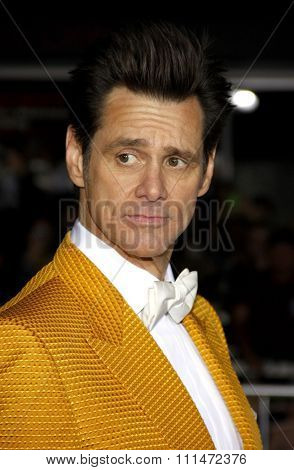 Jim Carrey at the Los Angeles premiere of 'Dumb And Dumber To' held at the Regency Village Theatre in Los Angeles on November 3, 2014 in Los Angeles, California.