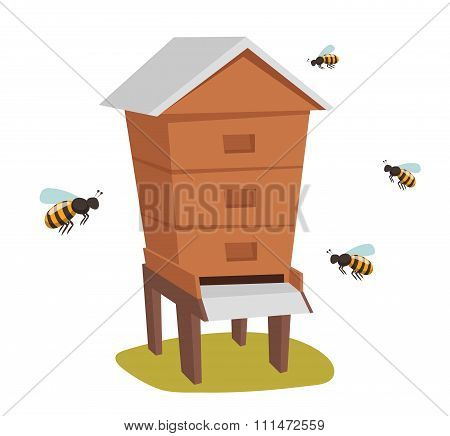 Apiary honey bee house apiary vector illustrations