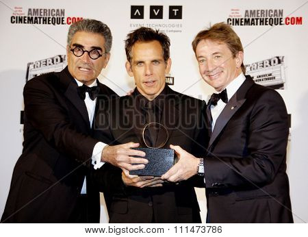 Eugene Levy, Ben Stiller and Martin Short at the American Cinematheque 26th Annual Award Presentation To Ben Stiller held at the Beverly Hilton Hotel in Beverly Hills on November 15, 2012.