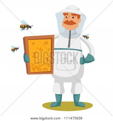 Apiary beekeeper vector illustrations
