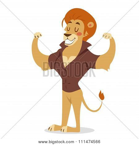 Teen lion power strong man illustration on white background