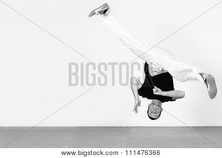 Man Jumping, Dancing Capoeira. Black And White