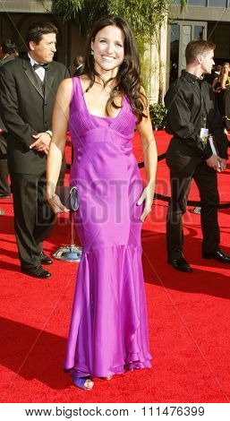 Julia Louis-Dreyfus attends the 59th Annual Primetime Emmy Awards held at the Shrine Auditorium in Los Angeles, California, United States on September 16, 2007.
