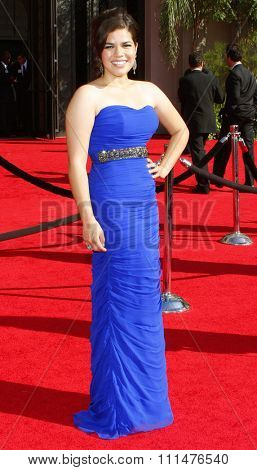 America Ferrara attends the 59th Annual Primetime Emmy Awards held at the Shrine Auditorium in Los Angeles, California, United States on September 16, 2007.