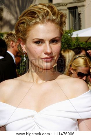 Anna Paquin attends the 59th Annual Primetime Emmy Awards held at the Shrine Auditorium in Los Angeles, California, United States on September 16, 2007.