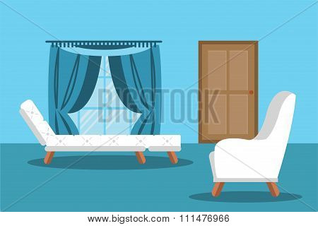 Modern living room interior vector illustration