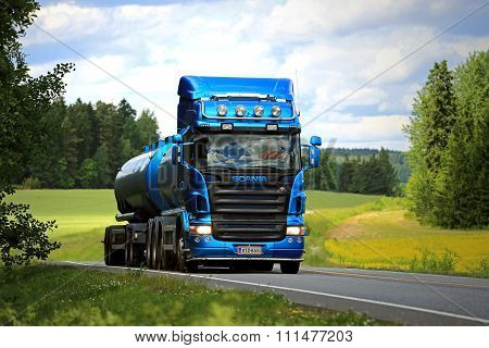 Blue Scania R500 Tank Truck On The Road At Summer