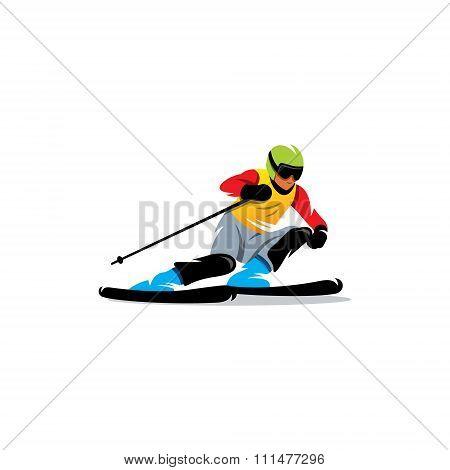 Slalom. Vector Illustration.