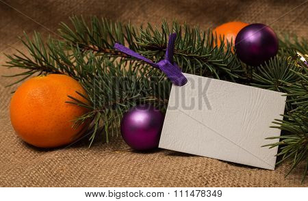 Postcard, Orange Tangerines, Fir-cones, Christmas Decorations