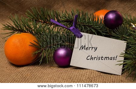 Tag Merry Christmas, Orange Tangerines, Fir-cones