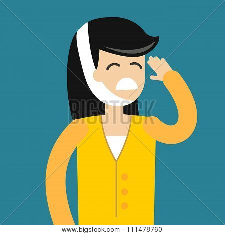 Dentist patient girl with toothache vector tools