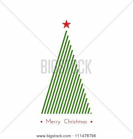 Christmas Tree In Line Art