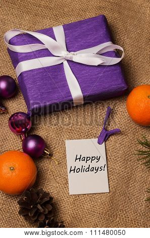Tag Happy Holidays, Orange Tangerines, Fir-cones