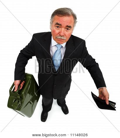 Man Showing Gas Can And Empty Wallet