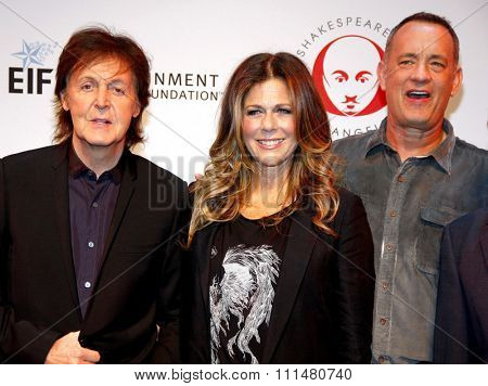 Sir Paul McCartney, Tom Hanks and Rita Wilson at the 23rd Annual Simply Shakespeare held at the Broad Stage in Los Angeles on September 25, 2013.