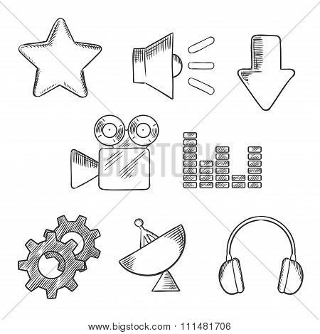 Media and sound sketched icons set