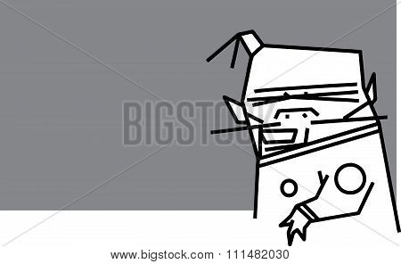 Silly Cartoon Character With Fez On Gray Backdrop