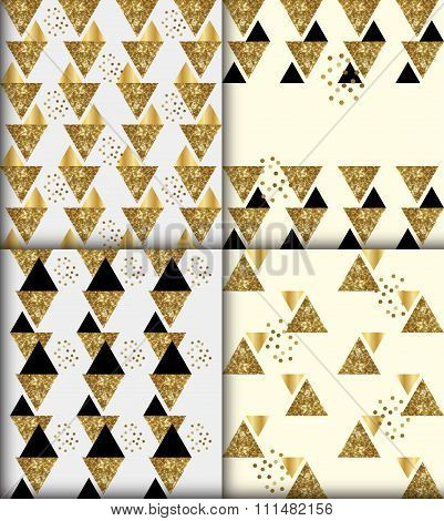 Set of 4 black gold glitter seamless patterns