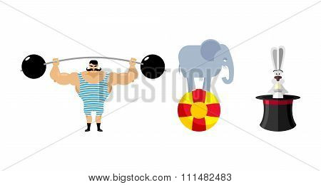 Circus Set Elements. Vintage Circus Strongman. Retro Athlete With A Barbell. Ancient Bodybuilder. Ci