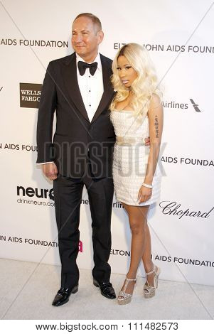 John Demsey and Nicki Minaj at the 21st Annual Elton John AIDS Foundation Academy Awards Viewing Party held at the Pacific Design Center in West Hollywood on February 24, 2013.