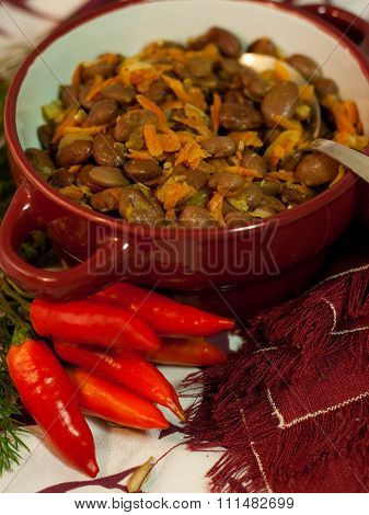 Georgian dish of beans with chilli