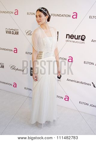 Emmy Rossum at the 21st Annual Elton John AIDS Foundation Academy Awards Viewing Party held at the Pacific Design Center in West Hollywood on February 24, 2013.