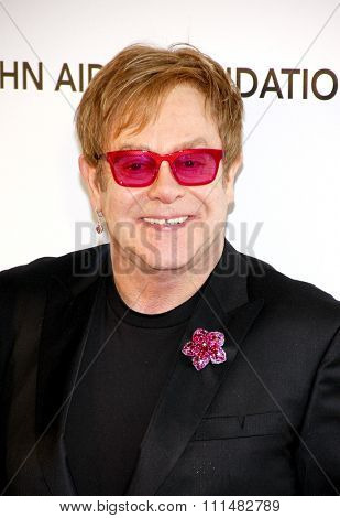 Elton John at the 21st Annual Elton John AIDS Foundation Academy Awards Viewing Party held at the Pacific Design Center in West Hollywood on February 24, 2013.