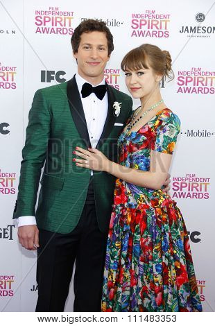 Andy Samberg and Joanna Newsom at the 2013 Film Independent Spirit Awards held at the Santa Monica Beach in Los Angeles, United States, 230213.