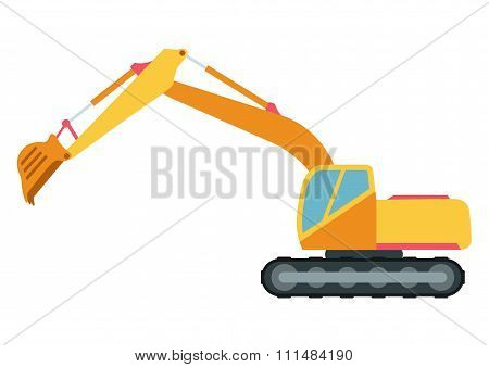 Building under construction excavator technics vector illustration