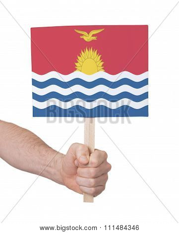 Hand Holding Small Card - Flag Of Kiribati