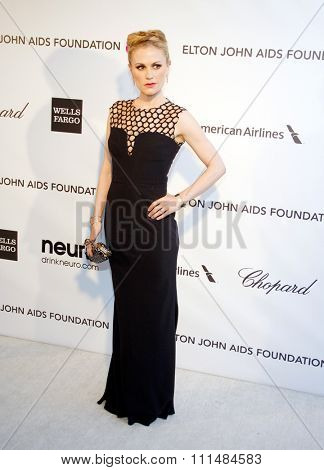Anna Paquin at the 21st Annual Elton John AIDS Foundation Academy Awards Viewing Party held at the Pacific Design Center in West Hollywood on February 24, 2013.