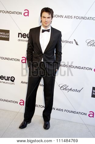 Ian Somerhalder at the 21st Annual Elton John AIDS Foundation Academy Awards Viewing Party held at the Pacific Design Center in West Hollywood on February 24, 2013.