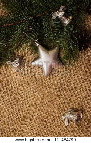 Fir-cones, Christmas Decorations And Fur-tree Branch