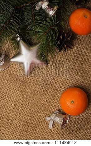 Mandarines, Fir-cones, Christmas Decorations And Fur-tree Branch