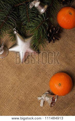 Mandarines, Fir-cones, Christmas Decorations And Fur-tree Branch