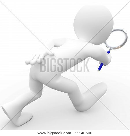 Man with magnifying glass looking for