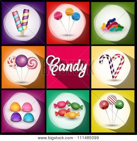 Set of brochures with sweets. Backgrounds with ice cream, candies, lollipop.