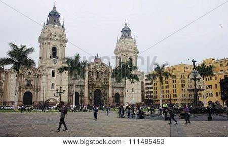 Lima, Peru - December 2, 2015: Cathedral In The Plaza Mayor On 2