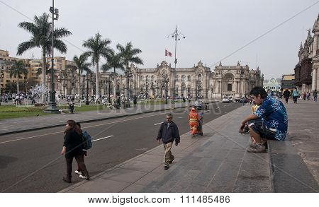 Lima, Peru - December 3, 2015: Government Palace On 3 December 2