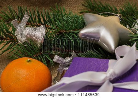 Christmas Decorations And Fur-tree Branch