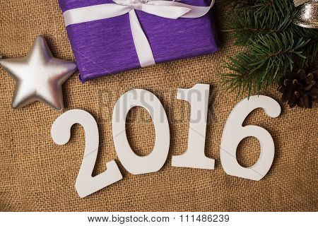 Tag 2016, Fir-cones, Purple Gift, Christmas Decorations