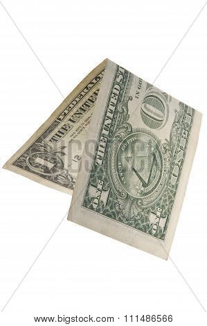 One Dollar Is Folded In Half. Isolated..