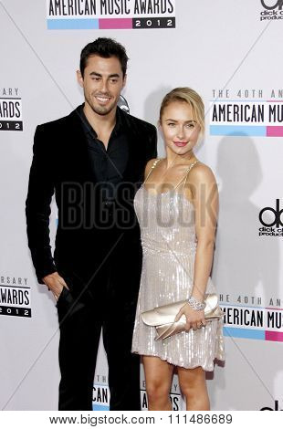 Hayden Panettiere and Scotty McKnight at the 40th Anniversary American Music Awards held at the Nokia Theatre L.A. Live in Los Angeles, United States, 181112.