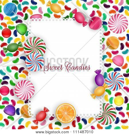 Colorful candy background with jelly beans, lolipop and orange slice