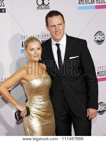 Elisha Cuthbert and Dion Phaneuf at the 40th Anniversary American Music Awards held at the Nokia Theatre L.A. Live in Los Angeles, United States, 181112.