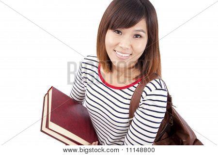 Sorrindo estudante universitária asiática